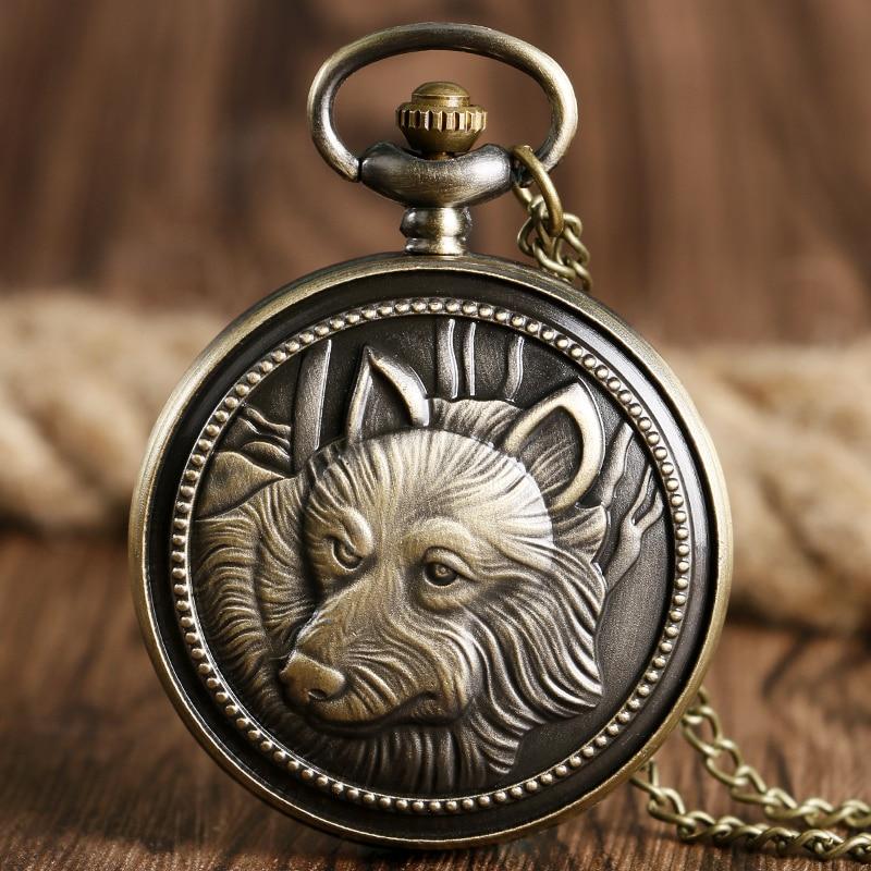 Relogio De Bolso Cool Bronze Wolf Dog Pattern Design Steampunk Quartz Pocket Watch Retro Necklace Chain Gift