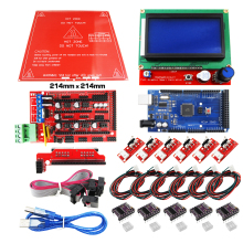 Reprap Ramps 1.4 Kit With Mega 2560 r3 + Heatbed mk2b + 12864 LCD Controller + DRV8825 +Mechanical switch +Cables For 3D Printer for endstop mechanical limit switches 3d printer switch with cable for ramps 1 4 cnc 3d printer accessories