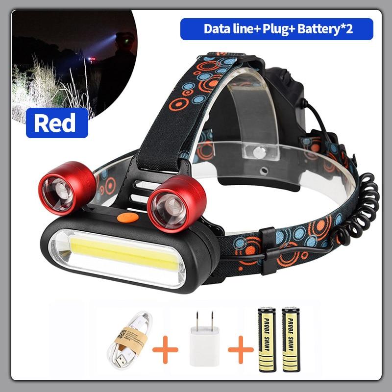 COB outdoor lighting LED headlight USB charging 4-Mode Waterproof Headlight Hunting Flashlight Fishing Camping Miner Light 0608