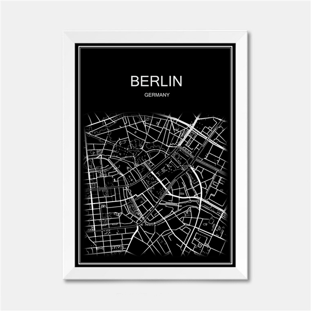 Berlin germany city world map poster abstract vintage paper print picture bar cafe pub living room