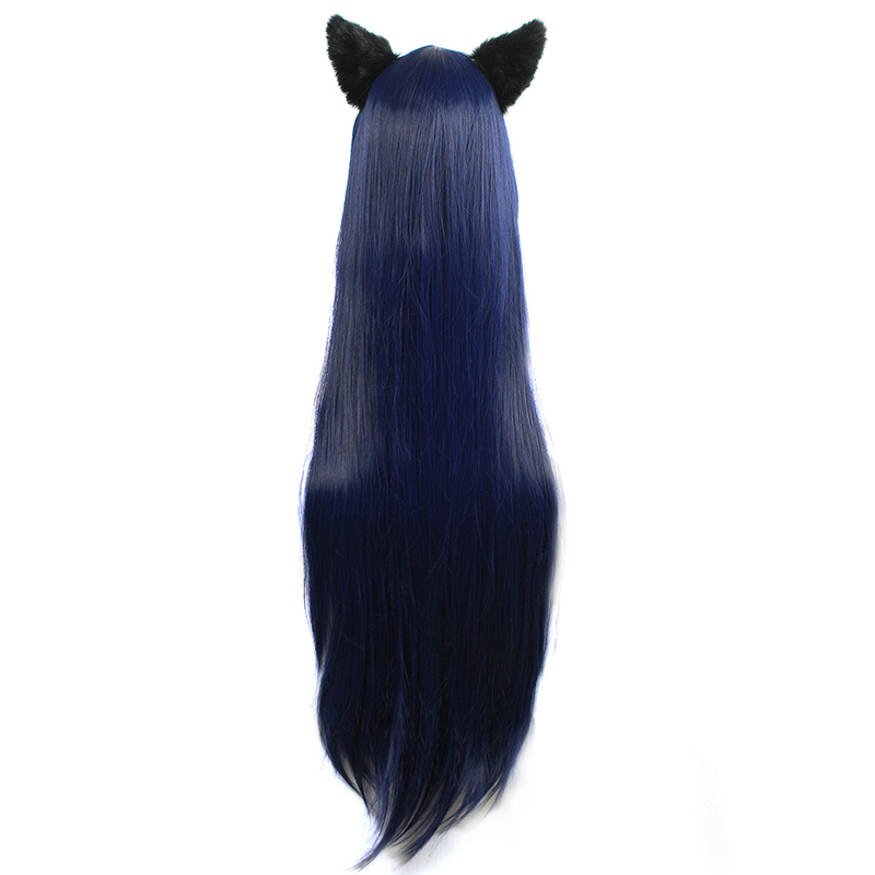 Image 4 - L email wig Game LOL Cosplay Wigs Ahri Character 100cm Dark Blue wig with Ears Heat Resistant Synthetic Hair Perucas Cosplay WigSynthetic None-Lace  Wigs   -