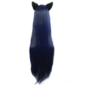Image 4 - L email wig Game LOL Cosplay Wigs Ahri Character 100cm Dark Blue wig with Ears Heat Resistant Synthetic Hair Perucas Cosplay Wig