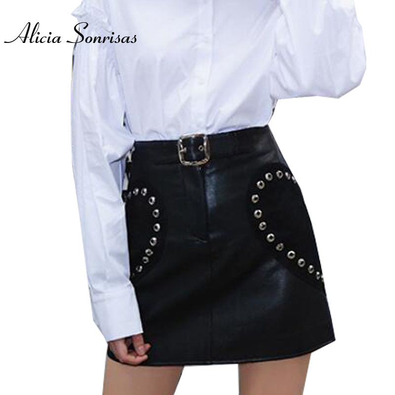 2018 Spring Sexy Mini Skirt Love Rivets PU Leather Skirts Suede Patchwork Street With Belt High