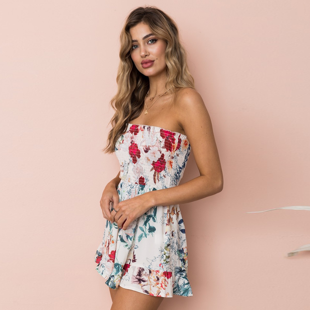YJSFG HOUSE 2018 Fashion Women Short Jumpsuit Rompers Vintage Floral Playsuit Clubwear Summer Print Beach Short Casual Sun Pink