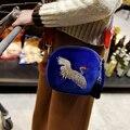 Harajuku Mini Bolso Chino Nacional Soviética Romántica Hecha A Mano de La Moda Retro Grulla coronada Bordado Bolso Crossbody Bolso