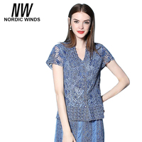 Nordic Winds Blouses Jeans 2017 Short Sleeve Turn Down Collar Hollow Out Blouse Light Blue Color