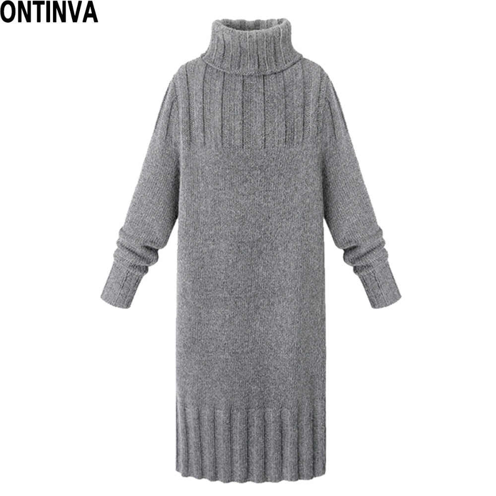 Women's Turtleneck Thick Sweater Dress XXL XL Plus Size Woman Knitted Slim Pullover High Neck Warm Knitwear Jumpers  Knee Length