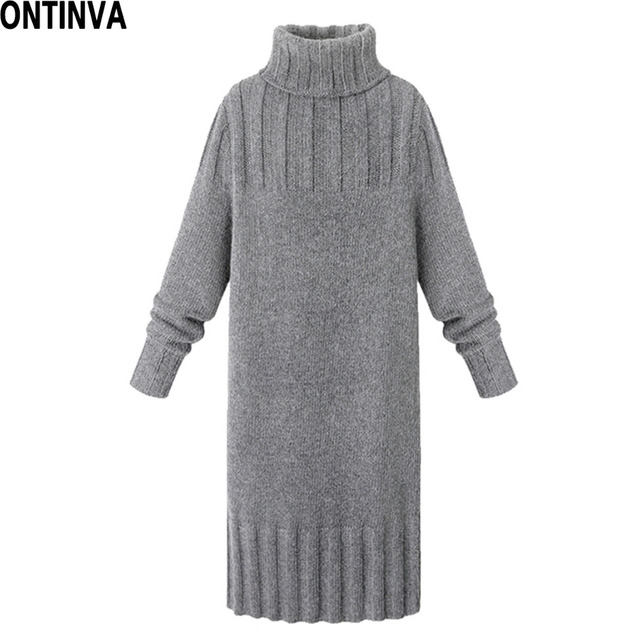 4b68324cfb Women s Turtleneck Thick Sweater Dress XXL XL Plus Size Woman Knitted Slim  Pullover High Neck Warm Knitwear Jumpers Knee Length