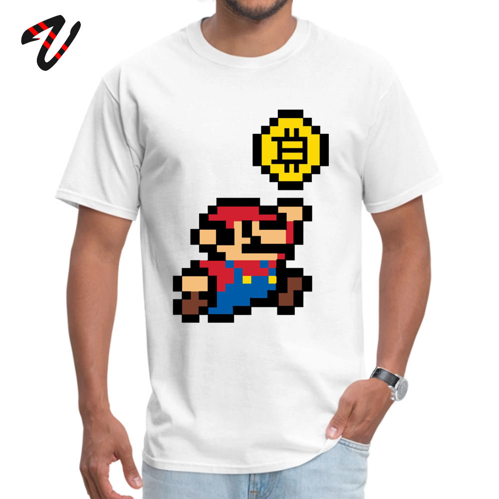 Bitcoin Super Mario Design Tshirts Summer/Autumn 100% Cotton Fabric Crewneck Man Tops & Tees Best Birthday Gift Top T-shirts