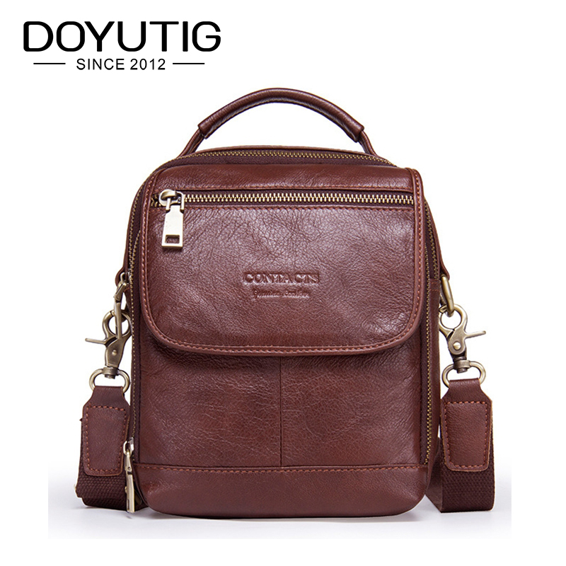 DOYUTIG Vintage Men's Genuine Leather Business Shoulder Bags High Quality Male Fashion Crossbody Bag Real Cow Leather Bags G133