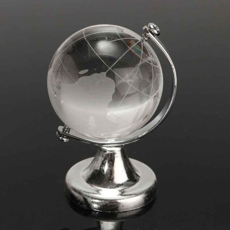 Newest 4cm Crystal Glass Global Ball Transparent Clear World Globe Paperweight Desk Home Office Decor Crafts Ornaments Gift