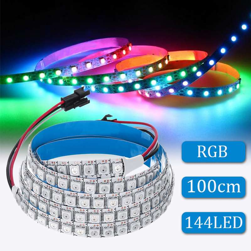 Led Pixel Strip 144 LED Strip Light 100CM WS2812B With Remote Control 5050 Built-In IC Individually Addressable RGB Lights DC5V