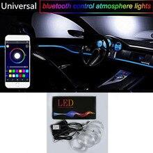 Najnowszy 1 zestaw kolorowe RGB LED wnętrza samochodu neonowy przewód świecący EL Wire pasek światła Auto Dashboard dekoracyjna lampa dźwięk aktywny kontrola aplikacji zestaw