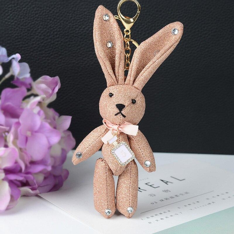 2018 Винтаж брелок Брелоки Fashion кулон кролик с бантом милый мультфильм кожаная сумка аксессуары Орнамент EH-826