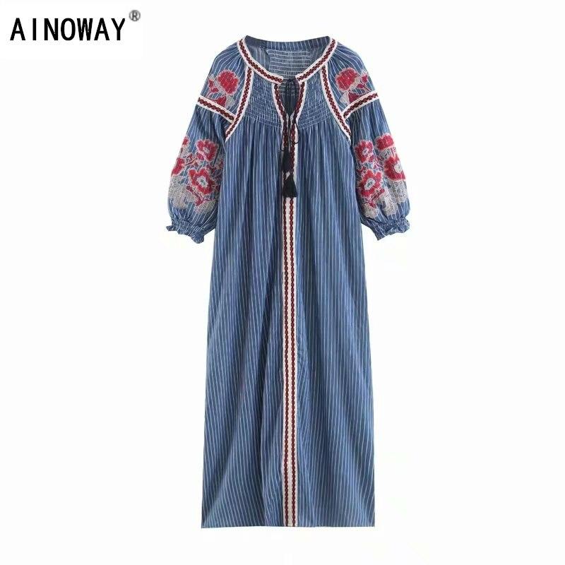 a41aa98c0ffe3 Chic Manches Longues Vintage Broderie Bohème Coton Floral À Robes Boho D'été  Plage Dames Femmes ...