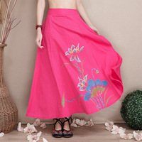 2017 Summer Cotton Linen Hand Painted Lotus Half Skirt Vintage Women Clothing Elastic Waist Chinese Style