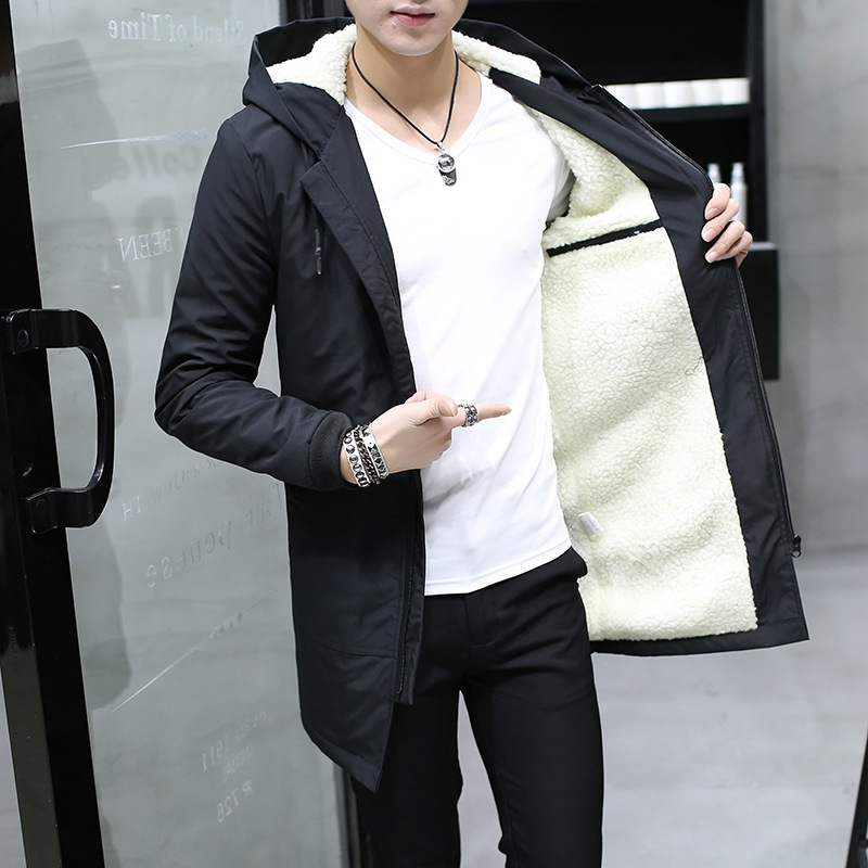 Drop shipping Men Jacket hooded Slim Parka long Jacket metal zipper top coat cashmere man windproof cotton youth clothing thumbnail