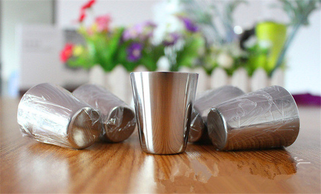 Set of Six Stainless Steel Shot Cups