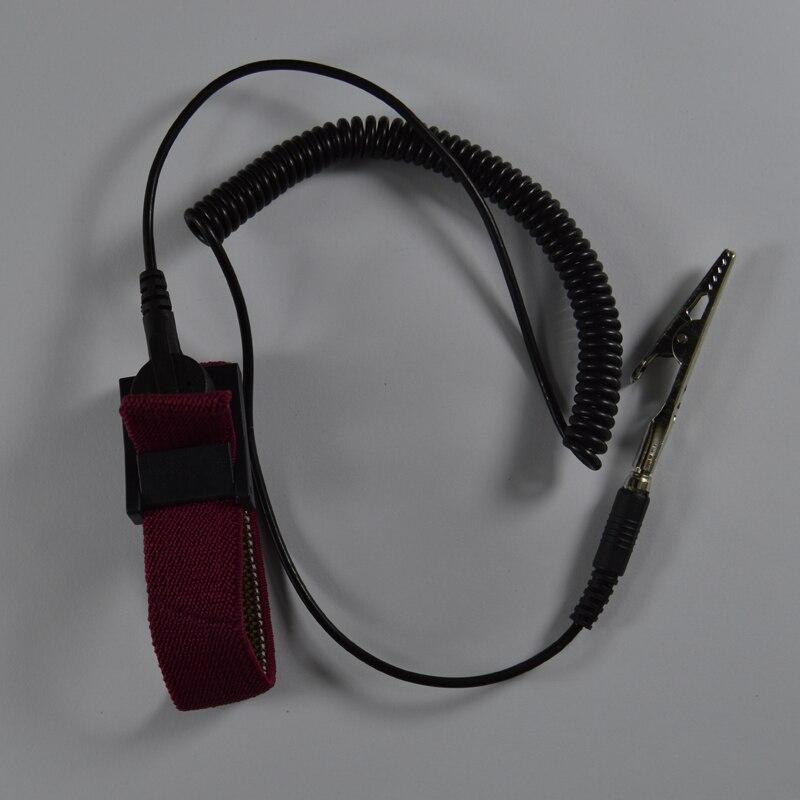 PU juhtmeta juhtmevaba klambri antistaatiline randmerihm Esd randmepael Elektrijuhtme tühjenduskaablid IC PLCC töötaja punane