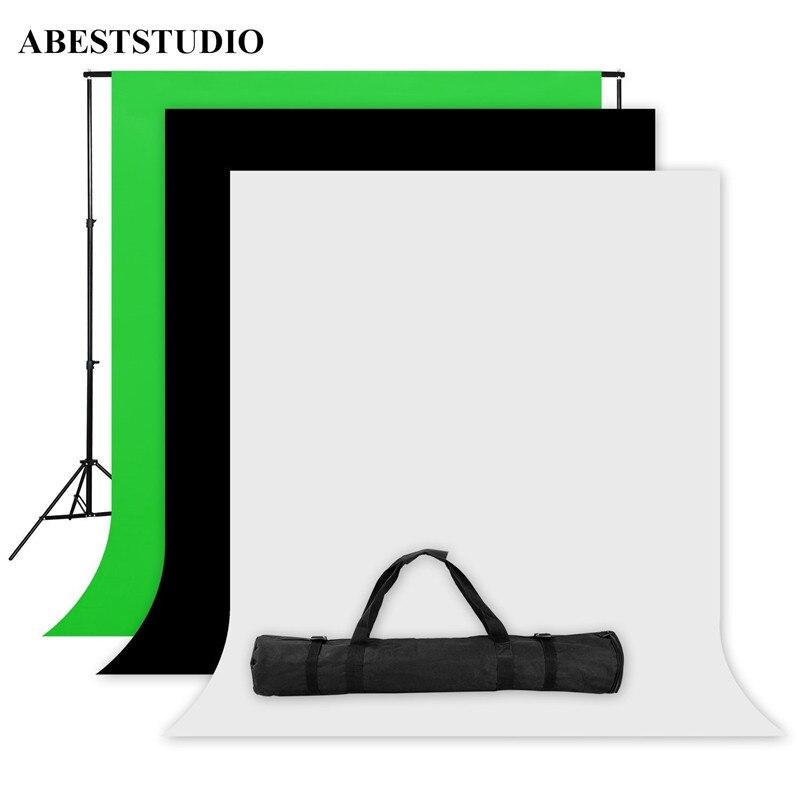 bilder für ABESTSTUDIO Foto Studio Bildschirm 1,6x3 mt Schwarz Weiß Grün Hintergrund Stand Kit 1 x2M * 2 Mt Hintergrund Stand + 3x Hintergrund stoffe