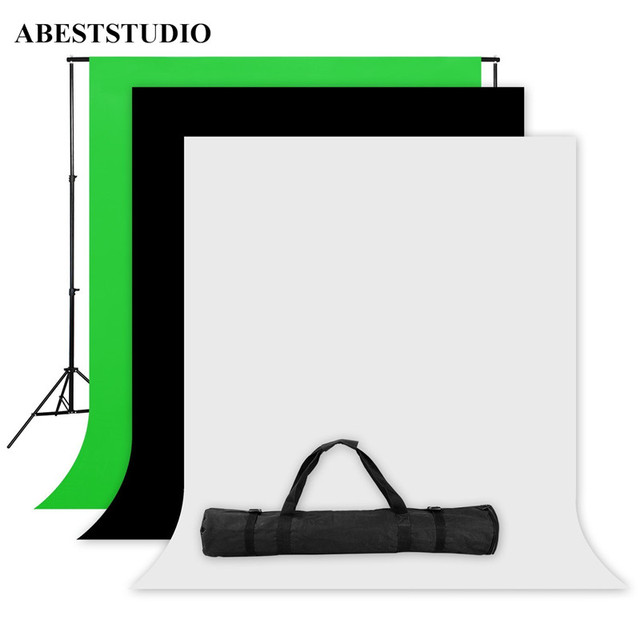 ABESTSTUDIO Photo Studio Screen 1.6x3m Black White Green Backdrop Stand Kit 1 x2M*2M Background Stand +3x Background fabrics