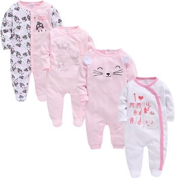 2019 3 4 pcs/lot Summer Baby Boy roupa de bebes Newborn Jumpsuit Long Sleeve Cotton Pajamas 0-12 Months Rompers Baby Clothes 4