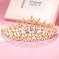 Gold Leaf Baroque Crown Tiara Head Jewelry Hair Accessories Diadem gold women prom hair accessories women crowns party jewelry