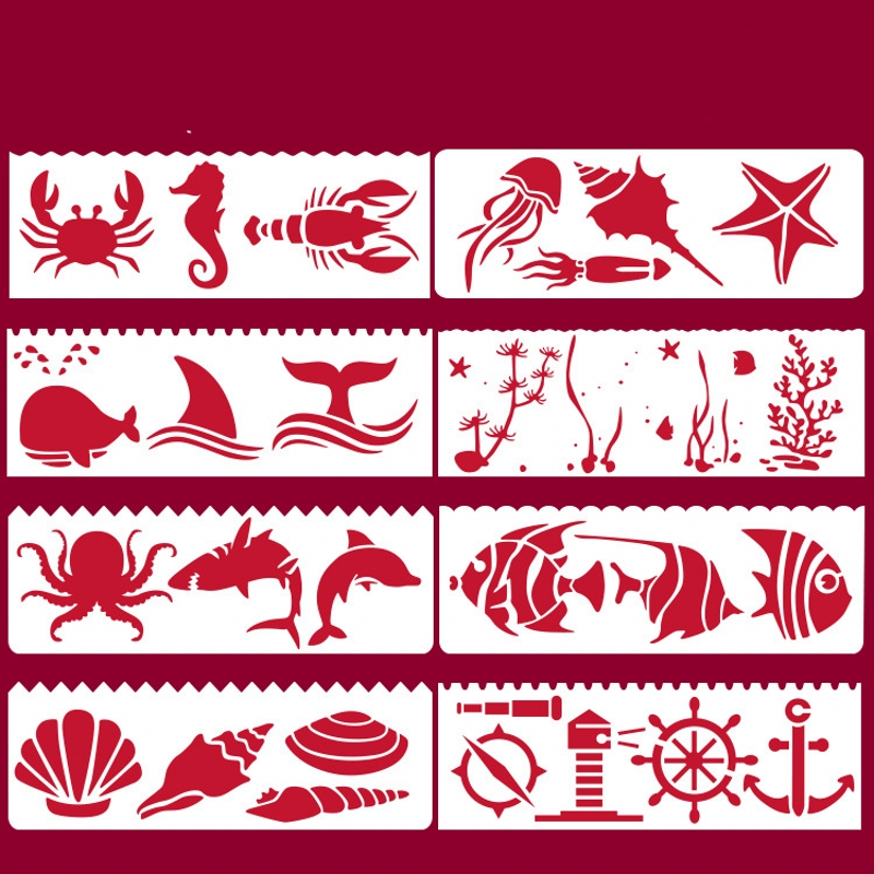 8Pcs/Set 17*6cm Sea Ocean Animals DIY Layering Stencils Wall Painting Scrapbook Coloring Embossing Album Decorative Template