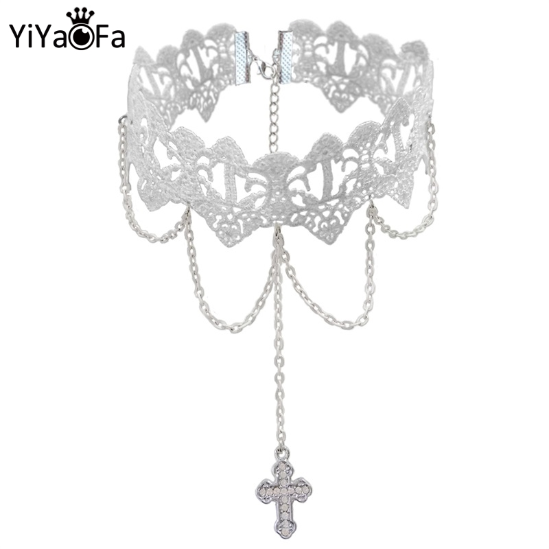YiYaoFa Vintage White Lace Necklace Cross Pendant Choker Necklace for Women Accessories Gothic Lady Party Jewelry Collar GN-72