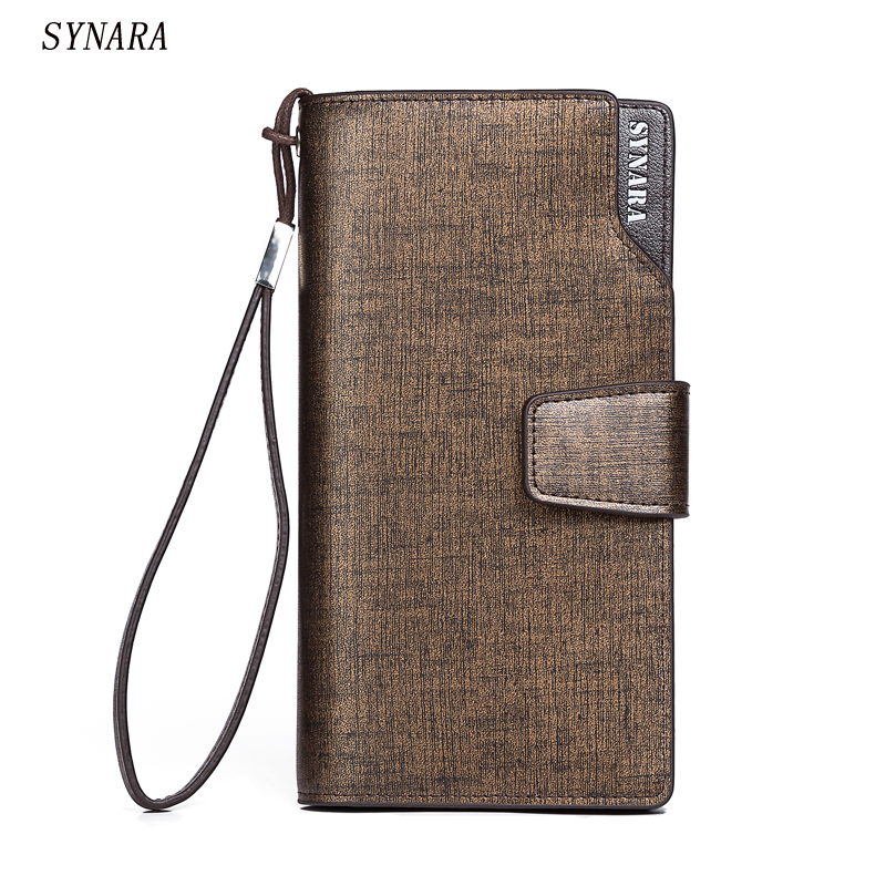 Hot New fashion design black men wallets long zipper brown purse women clutch carteira masculina porte monnaie