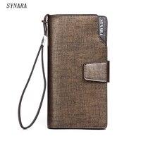 Sıcak Yeni moda tasarım siyah erkek cüzdan uzun fermuar kahverengi çanta kadın debriyaj carteira masculina porte monnaie