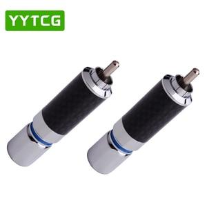 Image 4 - YYTCG 2PCS Audiophile Eutectic คาร์บอนไฟเบอร์โรเดียมชุบลำโพง RCA ชายปลั๊กสายไฟ Splice Audio Jack