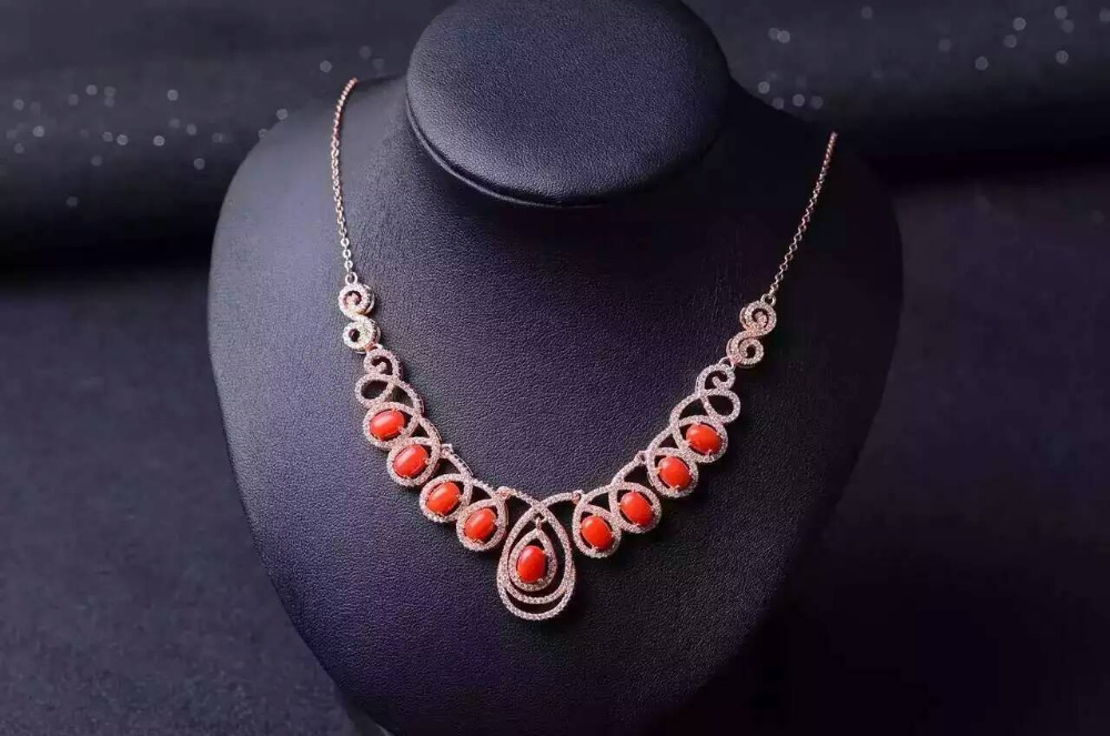 Natural Red Coral Necklace Natural Gemstone Pendant Necklace 925 sliver women Luxury water droplets engagement fine Jewelry недорго, оригинальная цена