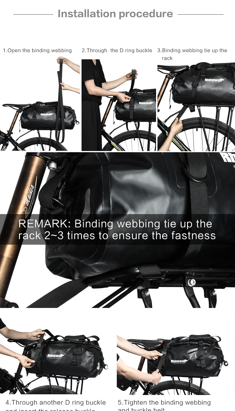 Rhinowalk Bicycle Luggage Bags 20L Full Waterproof for Road Bike Rear Rack Trunk Cycling Saddle Storage Pannier Multi Travel Bag (21)