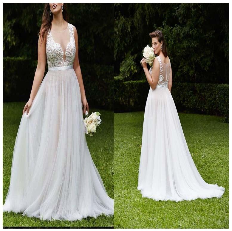 LORIE 2019 Plus Size Wedding Dresses Short Sleeve Lace Top