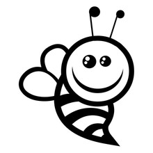 1114CM Cute Bumble Bee Cartoon Car Styling Vinyl Motorcycle Stickers Black Silver