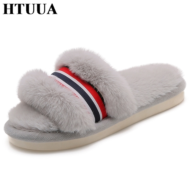 bd238b1d0ad5 HTUUA Winter Plush Warm Fluffy Slippers Women Faux Fur Slippers Solid  Indoor Floor Home Slippers Fur Slides Flat Shoes SX1514