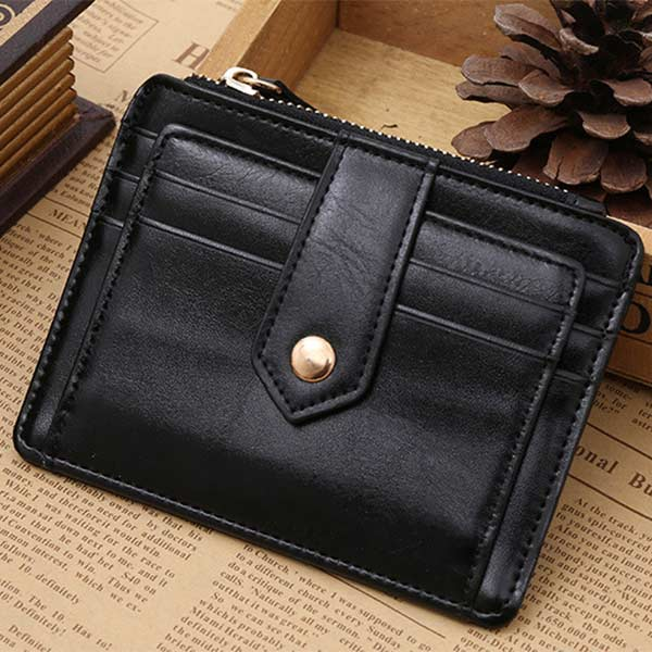 Classic PU Leather Zipper Hasp Coin Purse Photo Bit Credit Card Slots Coins Change Pocket Wallet New LT88