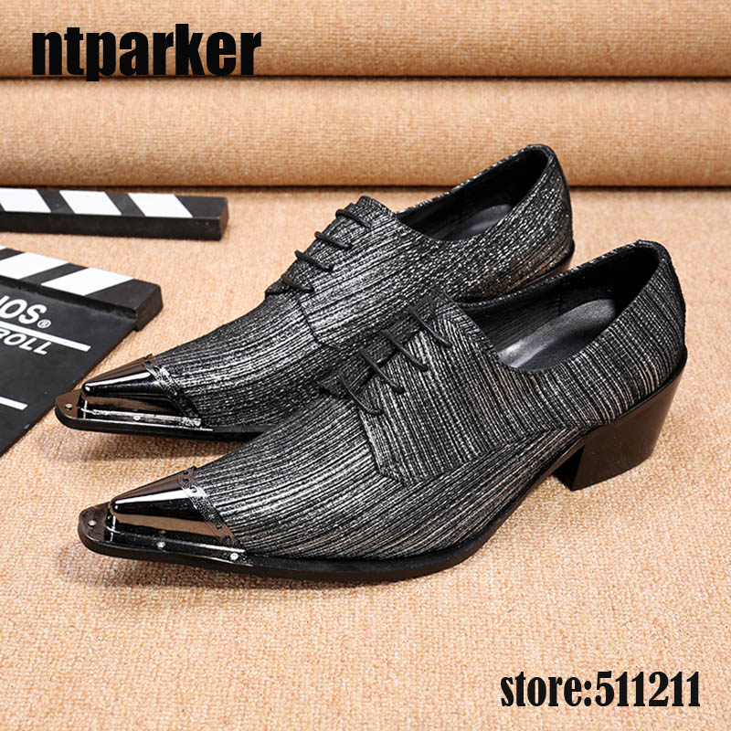 ntparker New Mens Dress Shoes Leather Italian Men Party Oxfords Metal Pointed Toe High Quality Grey Men Formal Shoes! 45/46 choudory new winter men ankle italian shoes men leather shoes pointed toe mens black dress shoes sequined toe spiked loafers men