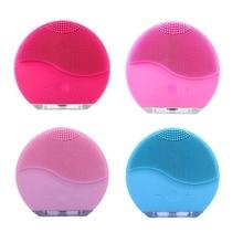купить NEW Ultrasonic Electric Facial Cleansing Brush Face Washing USB Vibration Skin Blackhead Removal Pore Cleanser Silicone Massager по цене 305.47 рублей