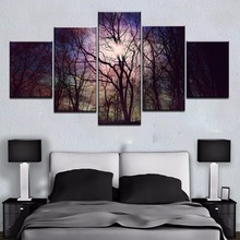 Modular 5 Panel Bright Morning Tree Forest Picture Cuadros Landscape Canvas Wall Art Home Decor For Living Room Painting