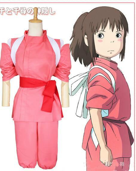 Anime Movie Spirited Away Chihiro Cosplay Costumes Girls Cute Pink Kimono Japanese Style Ladies Costumes
