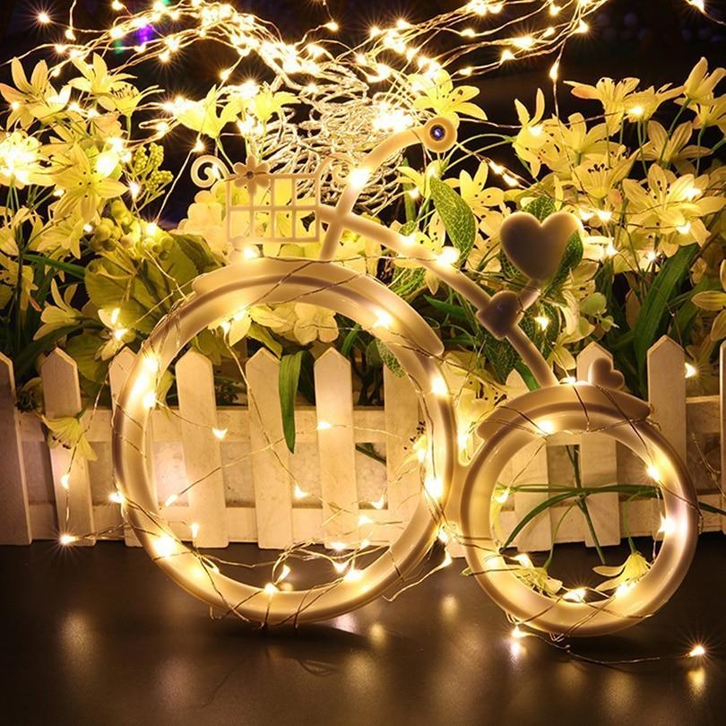 1M 10Leds Jõulutuled LED Vasktraat Fairy String Lights Aku Juhitud - Puhkusevalgustus - Foto 6