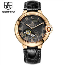 Men's Mechanical Watches Automatic Tourbillon Leather Casual Watch Business Wrist Watch Men's Watches top brand luxury SEKARO