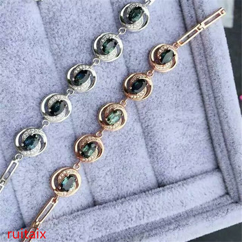 KJJEAXCMY fine jewelry 925 Pure silver inlay natural sapphire eye - shaped lady bracelet