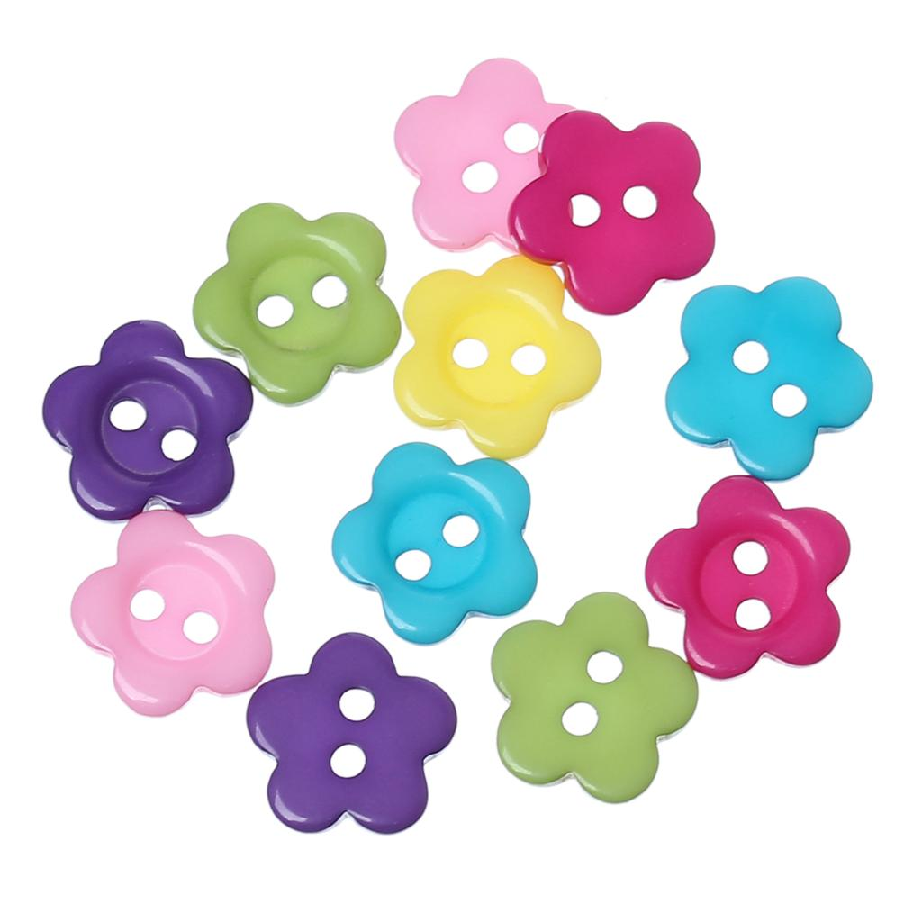 DoreenBeads Resin Sewing Button Decoration Flower 30 PCs