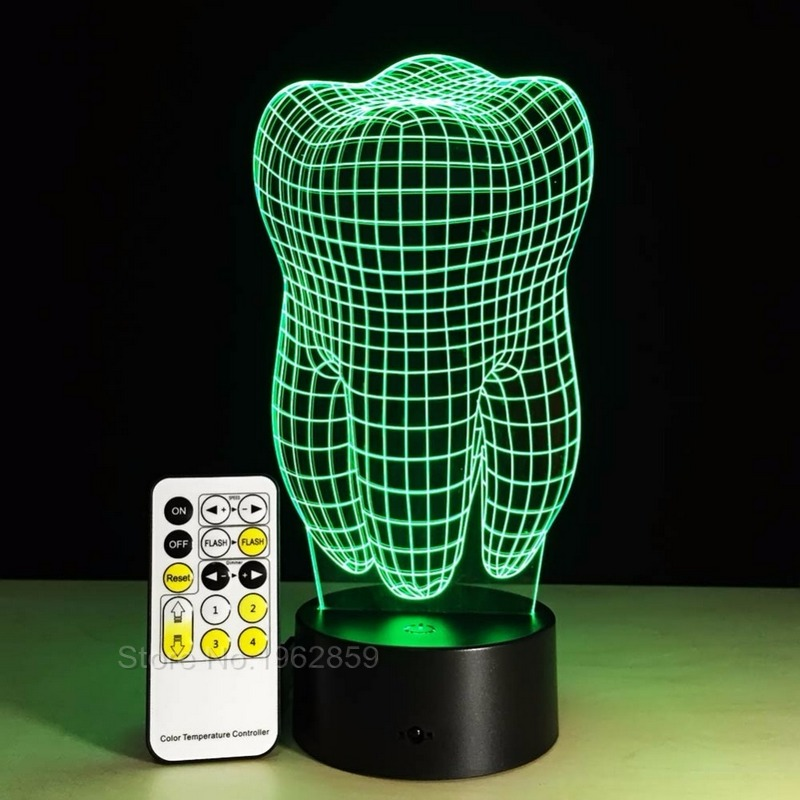 Image 3 - Teeth Type 3D Led Lamp Dental Creative Gift Colorful 3D Tooth Gradient Light Dental Clinic Artwork Artware Night Dental ShowsTeeth Whitening   -