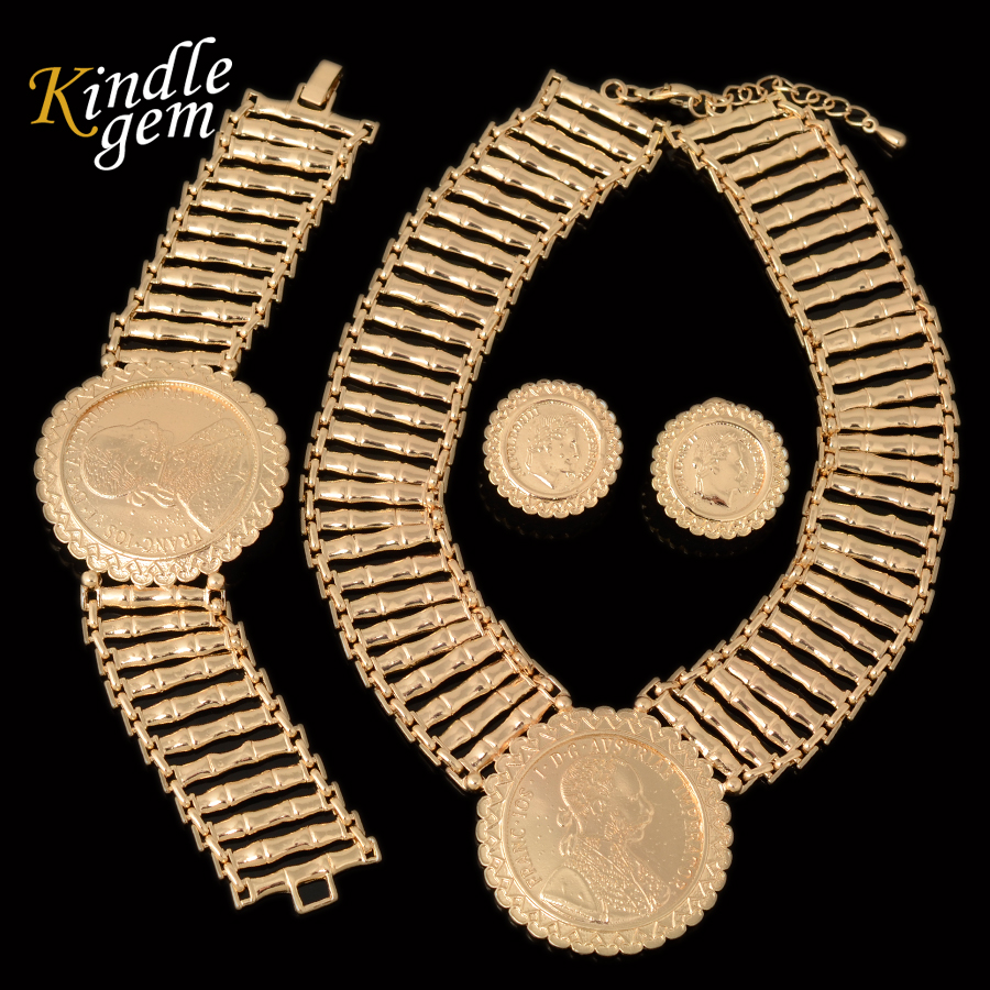 Fashion Big Gold Coin Pendant Necklace Earring Bracelcet Sets