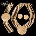 Moda Gran Moneda de Oro Colgante Collar Pendiente Bracelcet Set Para Las Mujeres Wedding Party Joyería de Sistemas de Dubai Chapado En Oro Bijoux