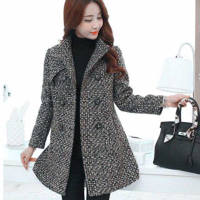New Women's Wool Blends Coat Winter 2019 Autumn Fashion Elegant Mother Turtleneck Plaid Slim Long Tweed Woolen Outerwear Female 3